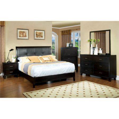 Furniture of America Muscett 4 Piece Queen Bedroom Set in Espresso .