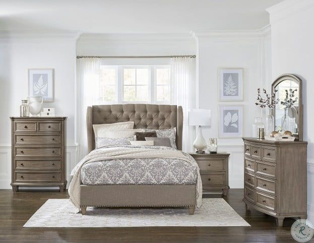 Vermillion Bisque Upholstered Platform Bedroom Set from .