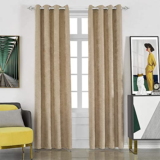 Amazon.com: MYSTIC-HOME Faux Linen Blackout Curtains for Living .