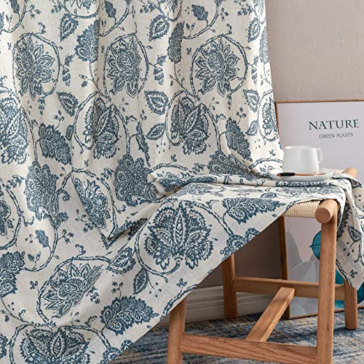 Amazon.com: Paisley Scroll Printed Linen Curtains, Grommet Top .
