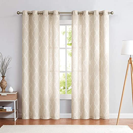 Amazon.com: jinchan Moroccan Tile Pattern Linen Curtains 108 inch .