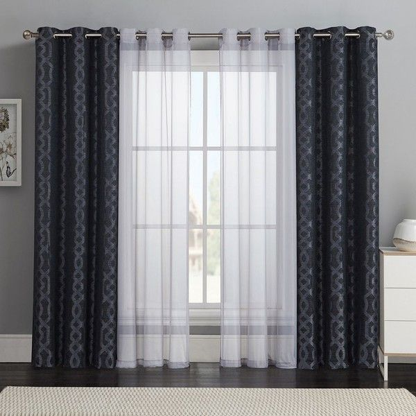 Victoria Classics 4-pc. Barcelona Double-Layer Curtain Set (Black .