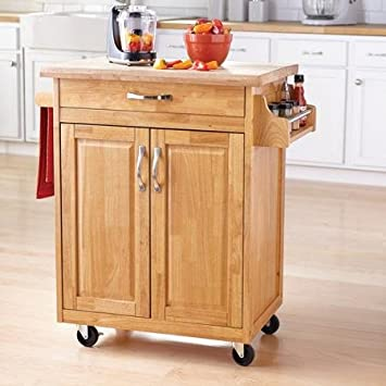 Amazon.com - Mainstay Kitchen Island Cart - Natural - Portable .