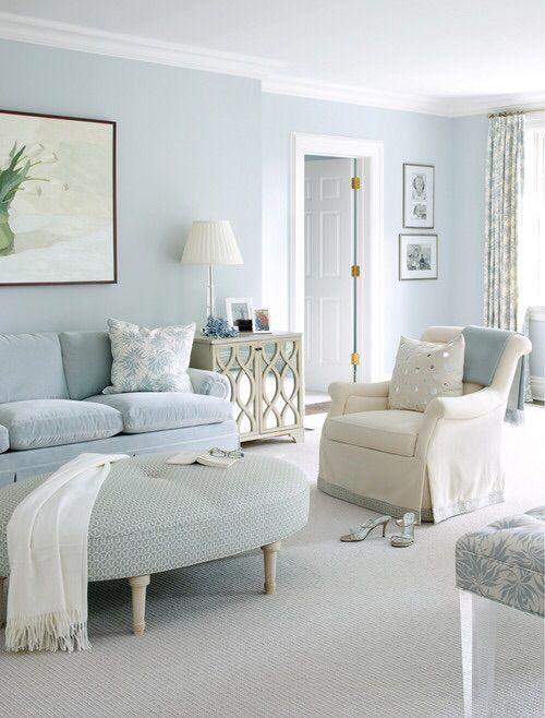 Powder blue walls | Light blue living room, Monochromatic room .