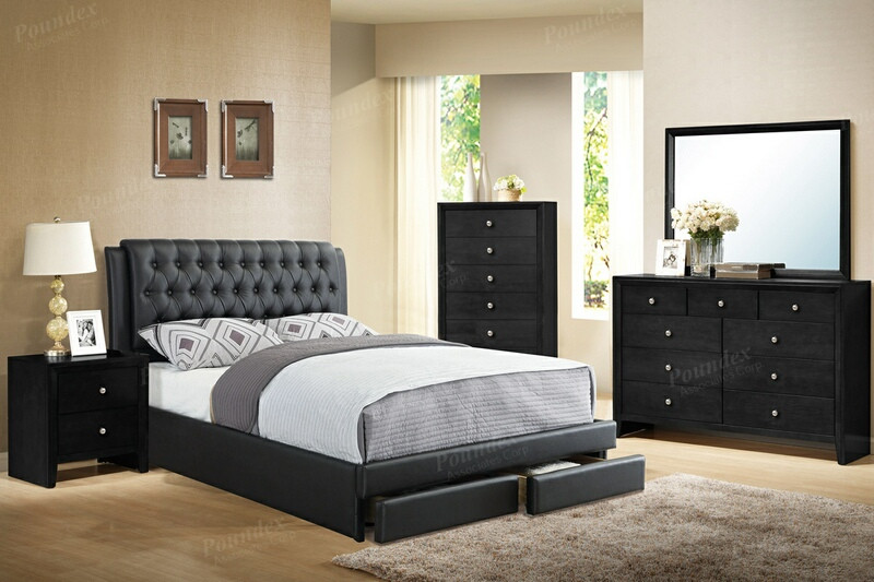 F9338Q 5 pc proctor black faux leather padded tufted espresso wood .