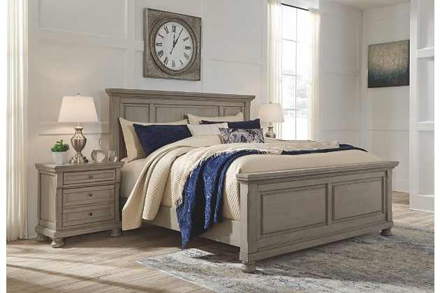 Lettner California King Panel Bed, Light Gray, large | Country .