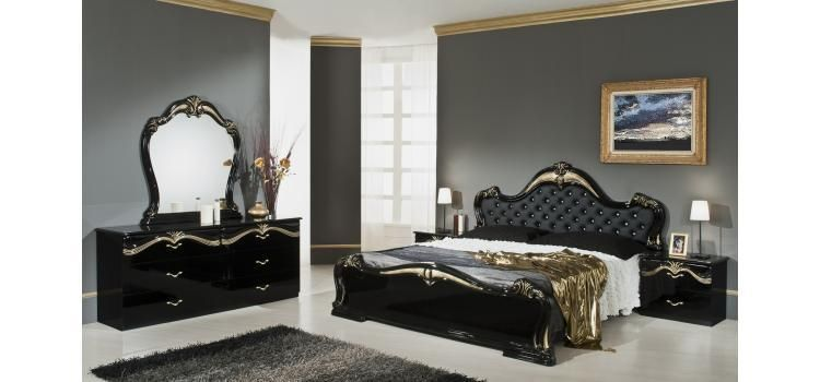 Stylish Design Furniture - Judy - Italian Classic Black Bedroom .