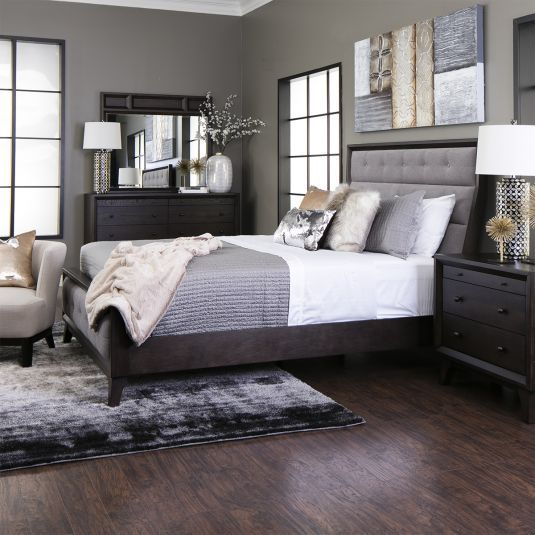 Gray Tufted Bedroom Set | Queen Size Panel Bed | Jerome's .