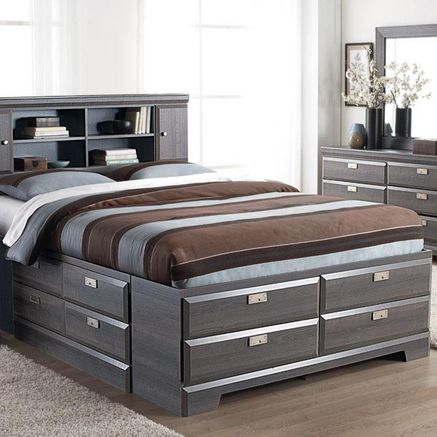Cypres Queen Storage Bed with Bookcase Headboard - Sears | Beds .