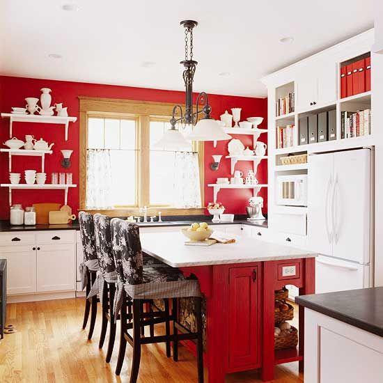 Red Kitchen Design Ideas | Red and white kitchen, Red kitchen .