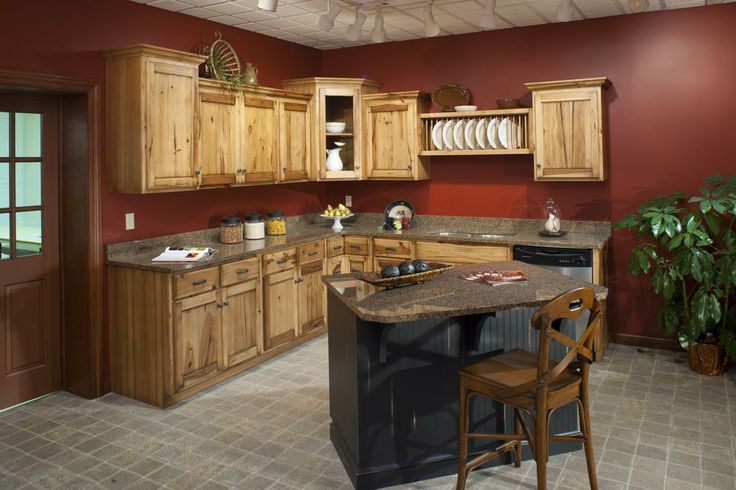 Ideas for our new house | Hickory kitchen cabinets, Hickory .