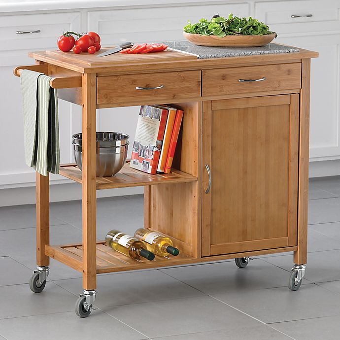 Linon Home Bamboo Rolling Kitchen Island | Bed Bath & Beyo