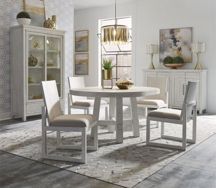Modern Farmhouse Round Dining Room Set (Aged White) - 1StopBedroom