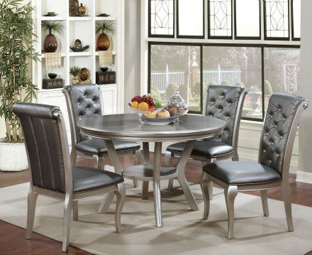 Amina Champagne Round Dining Room Set - 1StopBedroom