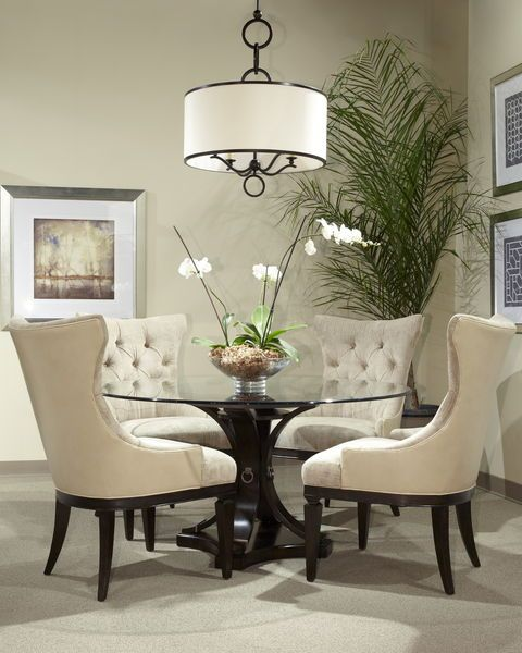 Classic Glass Round Table Dining Room Set 12885 | Round dining .