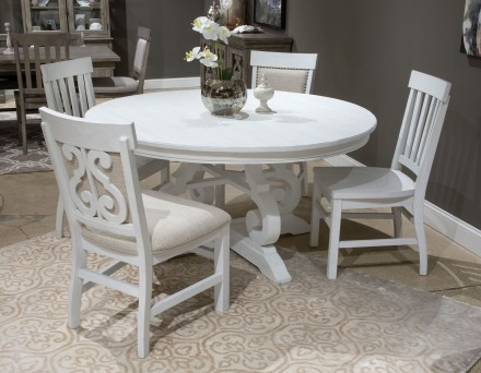 "Bronwyn Chalk White 60"" Round Dining Room Set - 1StopBedroom"