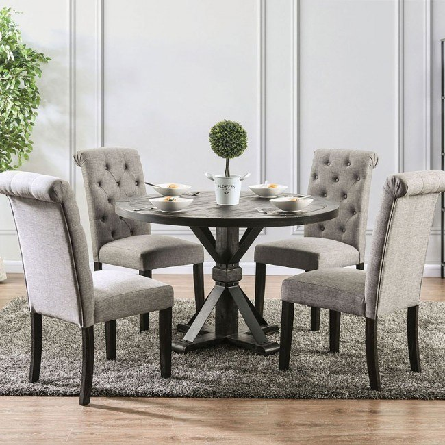 Alfred Round Dining Room Set w/ Light Gray Chairs by Furniture of .