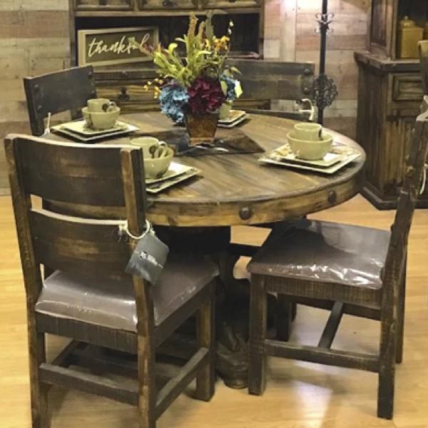 Ponderosa Round Dining Set – Rustic Furniture Dep