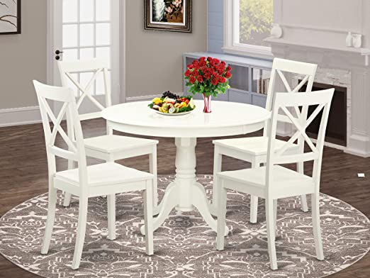 Amazon.com: East West Furniture 5-Pc Dining Set Included a Round .