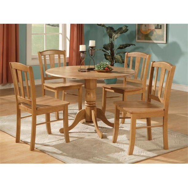 East West Furniture DLIN5-OAK-W 5 Piece Small Kitchen Table and .
