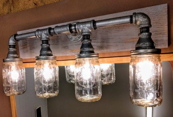 Mason Jar Lighting - Bathroom Vanity Industrial Light Fixture .