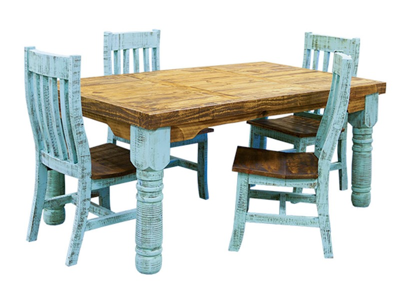 LMT | Turquoise Washed Rustic Dining Room Set | Dallas Designer .