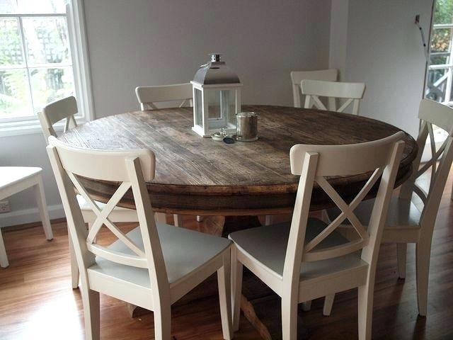 Rustic Round Dining Table Bench Room Set – Saltandblu