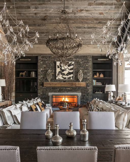 Modern Rustic Dining Room With Unique Lighting - Rustic - Living .