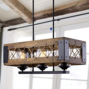 LALUZ Chandeliers, Dining Room Lighting Fixtures Hanging in Rustic .
