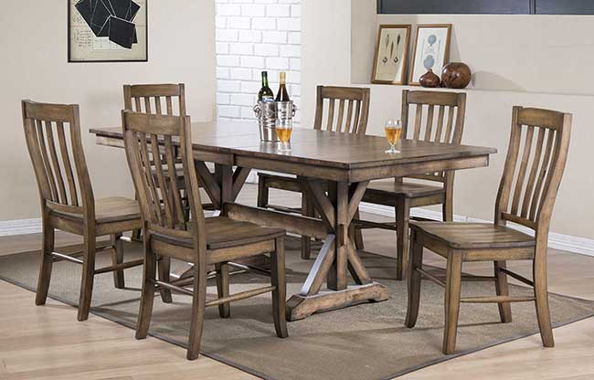 Carmel Collection Rustic Brown Dining Room Set