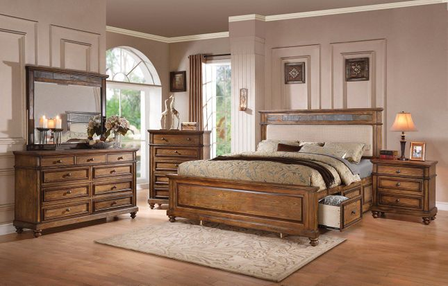 Abilene Rustic 4-pc Slate & Cream Linen Queen Storage Bed Set in .