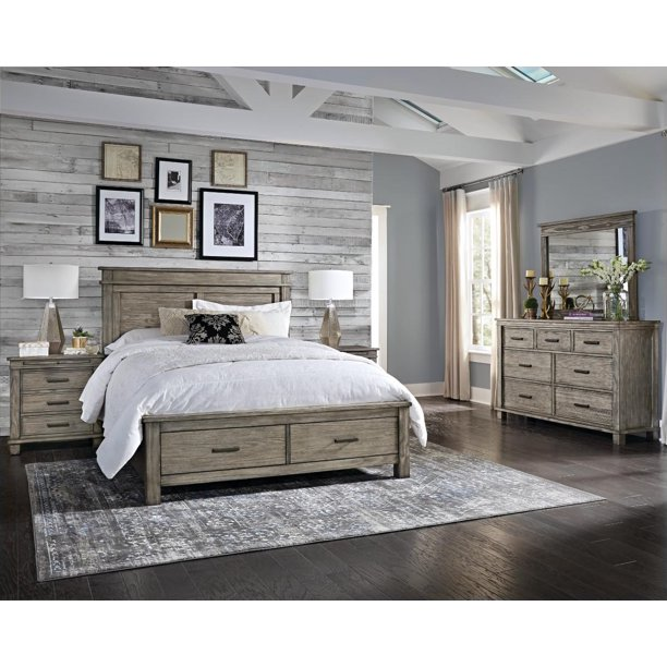 Rustic King Storage Bedroom Set 4Pc Greystone GLPGR5131 A-America .