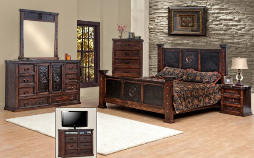 King Size Copper Creek Bedroom Set Dark Stain Western Rustic .