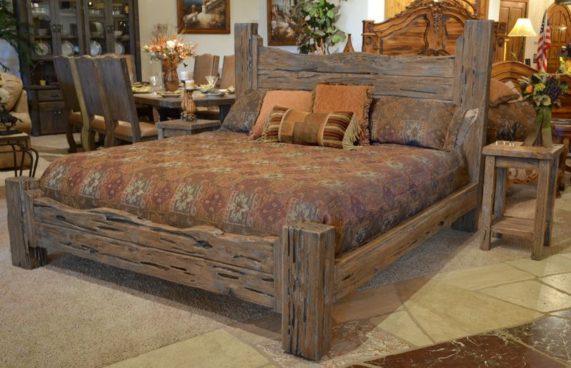Rustic King Bed: Custom Western Style Wood Bed | Rustic bedroom .