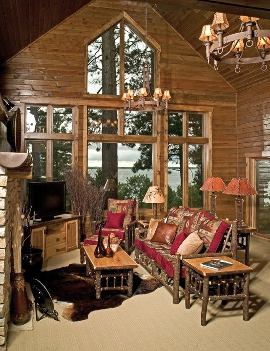 Hickory Gathering Room Example- Rustic Log Furniture-Cabin Decor .