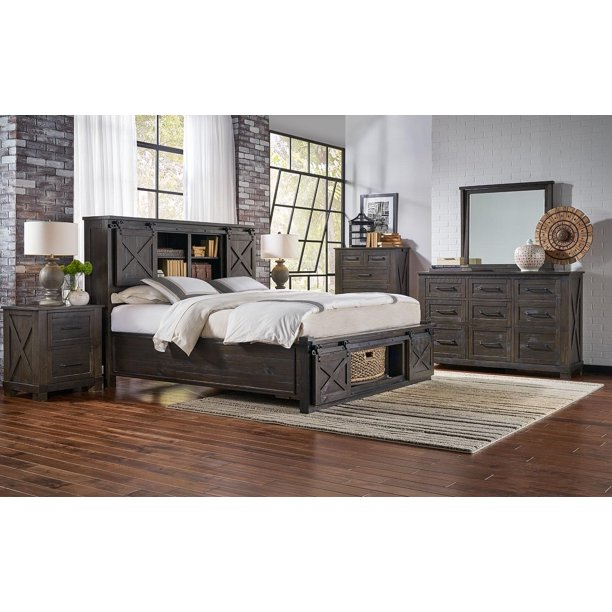 Rustic Queen Rotating Storage Bedroom Set 5Pcs SUVCL5032 A-America .