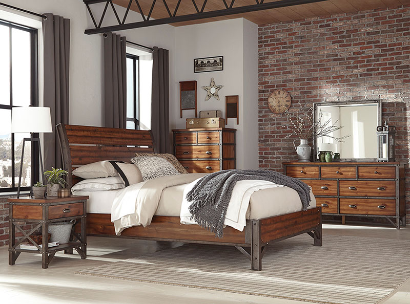 NEW Industrial Style Rustic Brown Finish Bedroom Furniture - 5pcs .