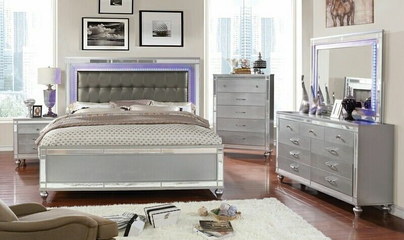 CM7977SV-5PC 5 pc Brachium silver finish wood queen bedroom set .