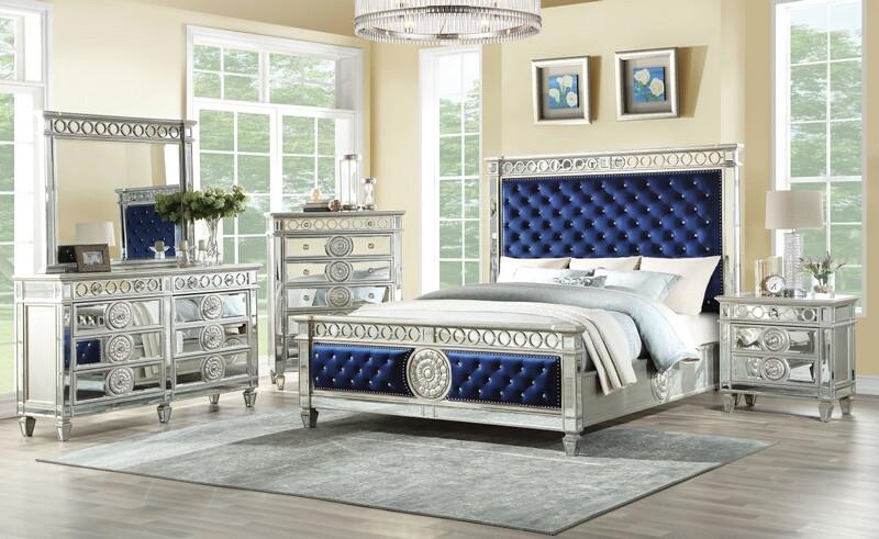 Acme 26150Q 5 pc Varian mirrored silver fininsh wood dark blue .