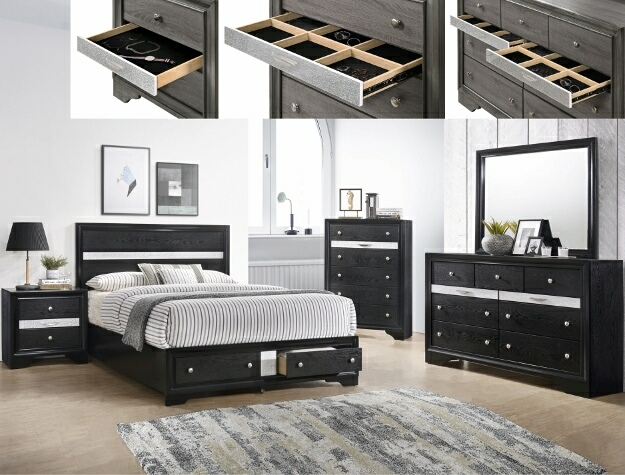 B4670 4 pc Regata black and silver finish wood queen storage .
