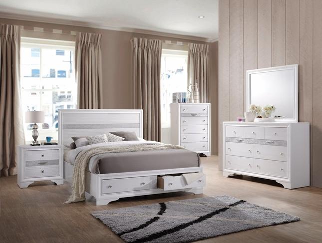 Nandini Modern 4-pc Storage Queen Platform Bed Set w/ White .