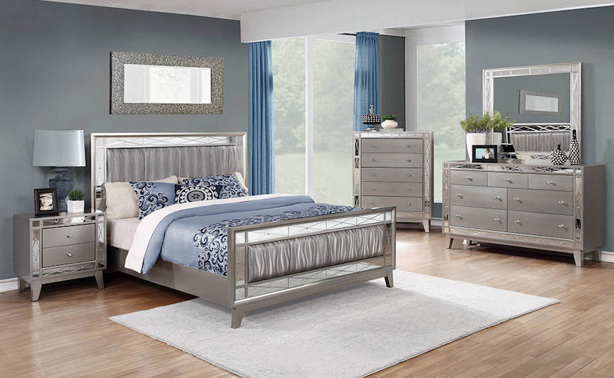 Leighton Silver Mirrored Bedroom Set | KFROO