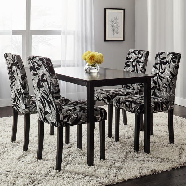Shop Simple Living Parson Black and Silver 5-Piece Dining Table .