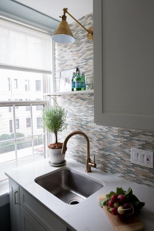 Gold and gray mosaic glass tiles | Simple kitchen, Kitchen island .