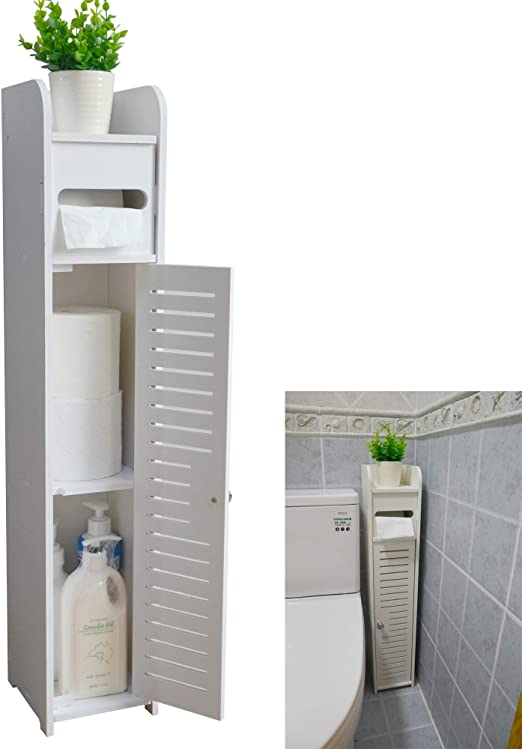 Amazon.com: AOJEZOR Small Bathroom Storage Corner Floor Cabinet .