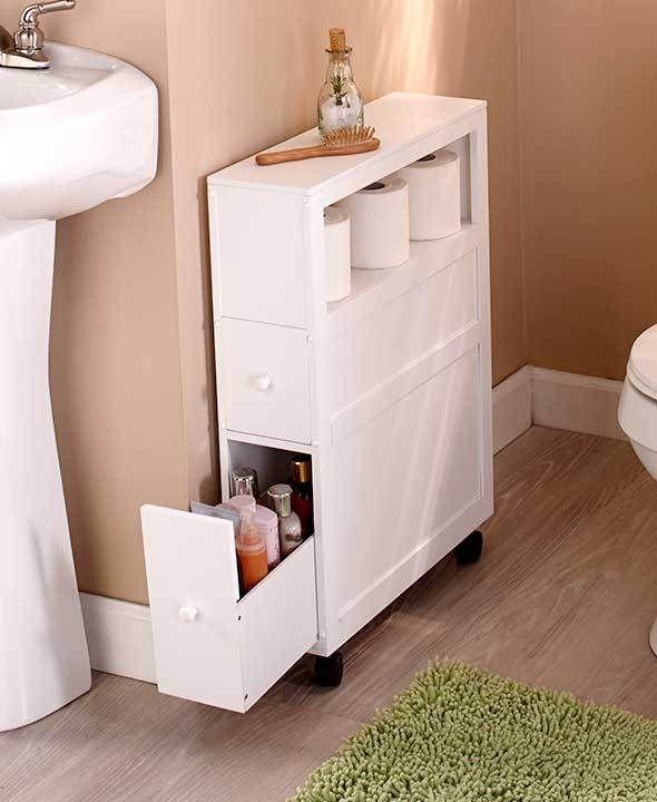 SLIM BATHROOM CABINET MULTI FUNCTIONAL WHITE OR BLACK SPACE SAVER .