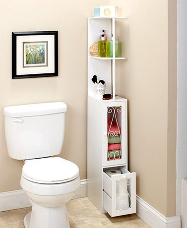 Space-Saving Scrolled Storage Cabinets | Small bathroom storage .
