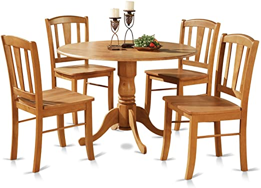Amazon.com: DLin5-OAK-W 5 Pc small Kitchen Table and Chairs set .