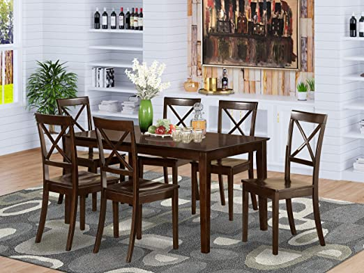 Amazon.com: East West Furniture Dining Set 7 Pc - Wooden Modern .