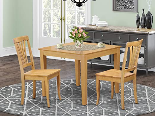 Amazon.com: 3 Pc small Kitchen Table set -square Table and 2 .